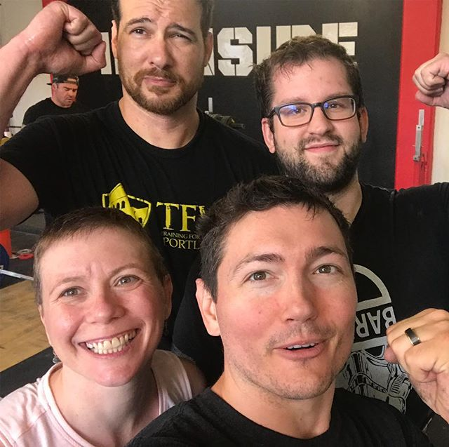 Sweaty, sore, and swole. Just like everyone else at @ironsidetraining. Thanks @pacmanfit for helping us get ready for Oregon's Strongest lumberjack.  #fitfam #coaching #strongerthanyesterday