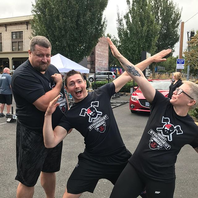 "Coaches Elizabeth Sohne and Josh suit up for the event. Rob is clearly the ""ringer"" for TFW Portland in this event! Thanks @pacmanfit  for putting on a great event for us!"