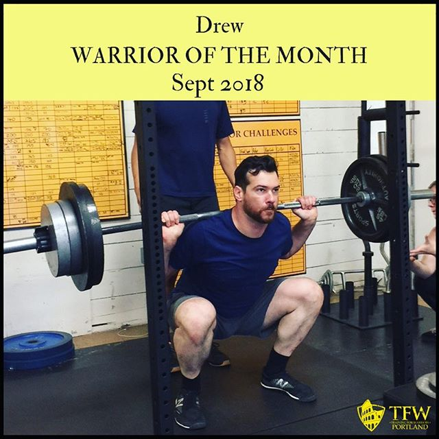 🔥🔥🔥Drew decided to level up his fitness. With that decision came: . •Training at least 4️⃣ days per week •Showing up to class early. Every day! 😱 •Getting more than enough Vitamin C •COMMITMENT . Because of this, Drew has lost 5% bodyfat and added 8 lbs of muscle. Not to mention tremendous gains in the squat, bench, and deadlift. . What can you accomplish in 6 months? As much as you DECIDE 👊 . Congrats to Drew, our September Warrior of the Month!!! . . . #mobility #culture #transformation #strengthcoach #trainingforwarriorsportland #tfw4life #fitness #fitfam #success #grit #gymlife #gym #gains #squat #bench #deadlift  #fatloss #coach #workout #fitspo #pdxfit #pdxfitness #pdx #pdxstrength #portlandhealth #liftheavyandsprint #squatsfordays #teamredwood
