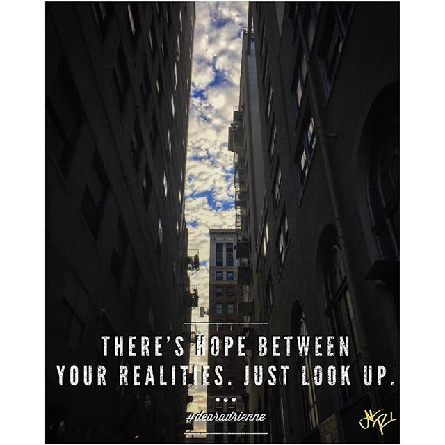 There's hope between your realities. Just look up.--the real world can be too brick and mortar sometimes; your real possibility is fluid and ever hanging like the clouds in the sky. #dearadrienne #sundaymotivation #supersoulsunday . . . . 📸 by @dtla_everyday