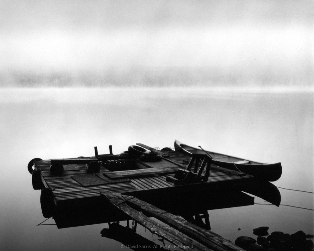 Canoe and Dock, Morning, Shin Pond, Maine