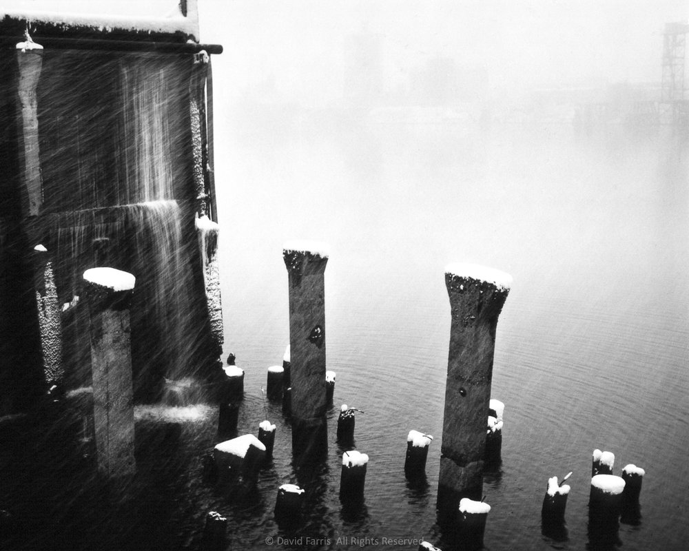 Snow, Pillars, Willamette River, Portland, Oregon
