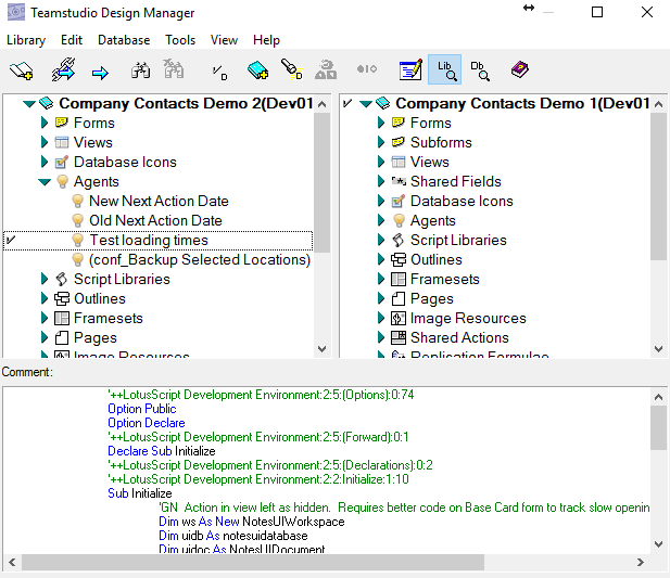 design manager displays bold type for elements linked to a template - Library Database Design