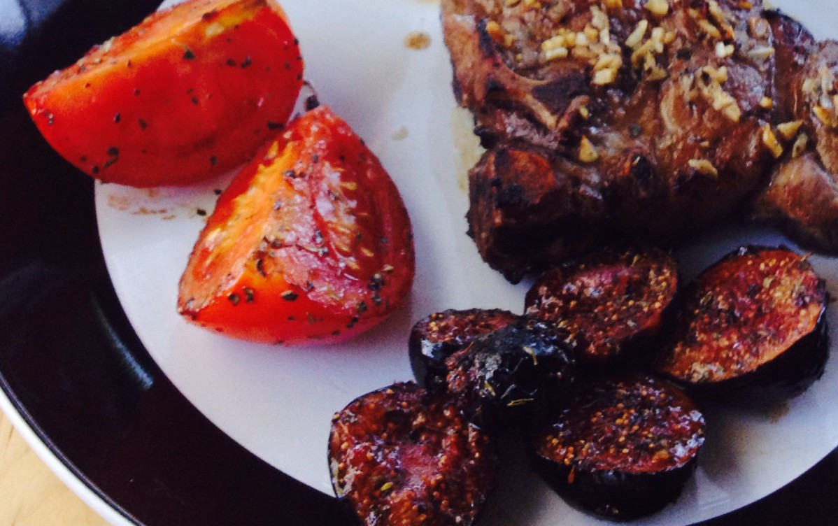 Balsamic Roasted Figs & Tomatoes