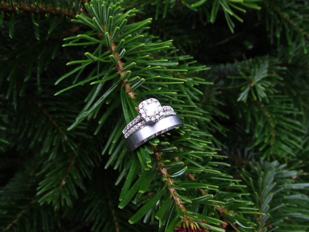 Our wedding rings on our Christmas tree.