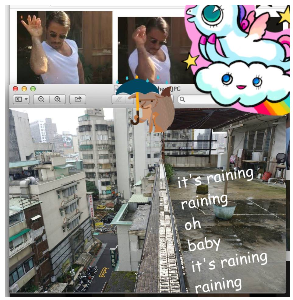 Hi Monday, 3pm, it's raining here in Taipei like Salt Bae is in the sky. Pretty refreshing. And this image is responding to Monica's laundry image!