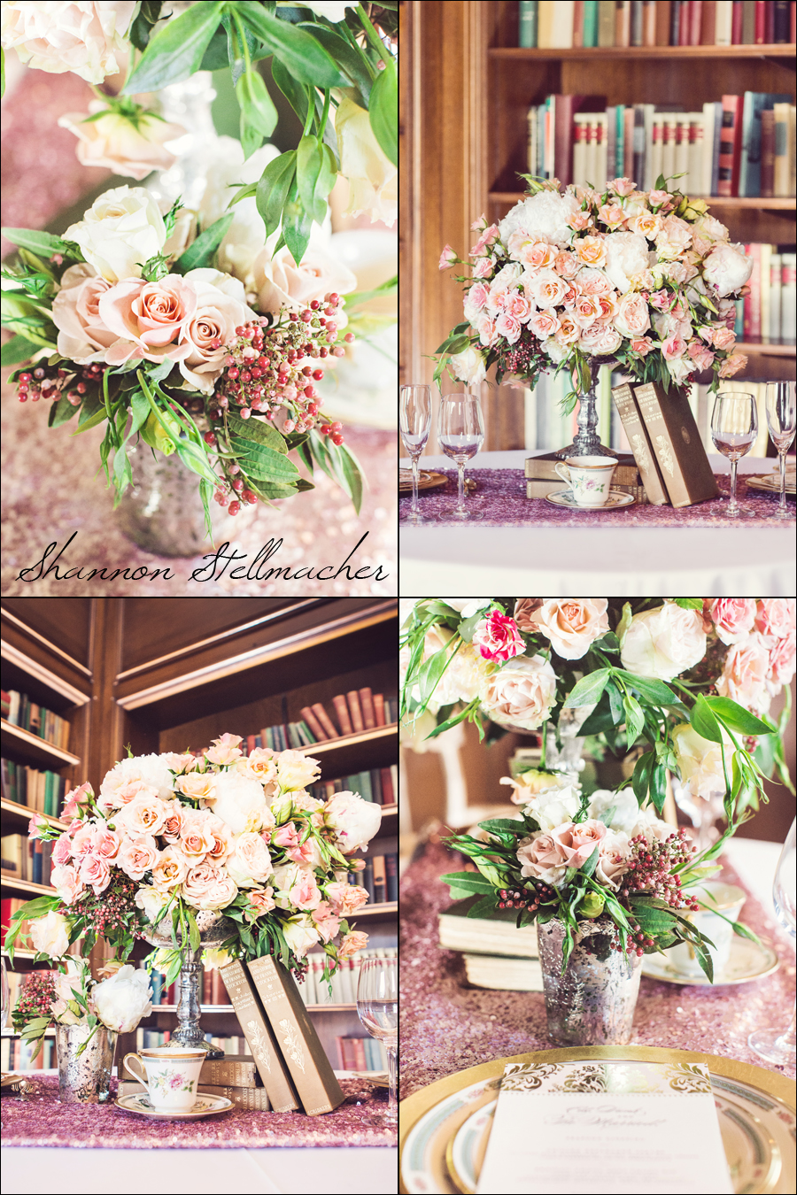 peach and pink wedding table
