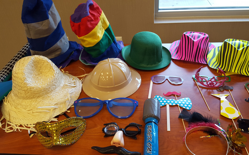 Our prop box includes crazy hats, boas, funny glasses, rubber microphones, masks, a plunger and even a horse head on a stick. We regularly stock the box with crazy new props so every event has something new. There is no end to how creative your guests will be able to express themselves.