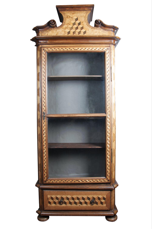 Austrian Parquetry Inlaid Curio Display Cabinet