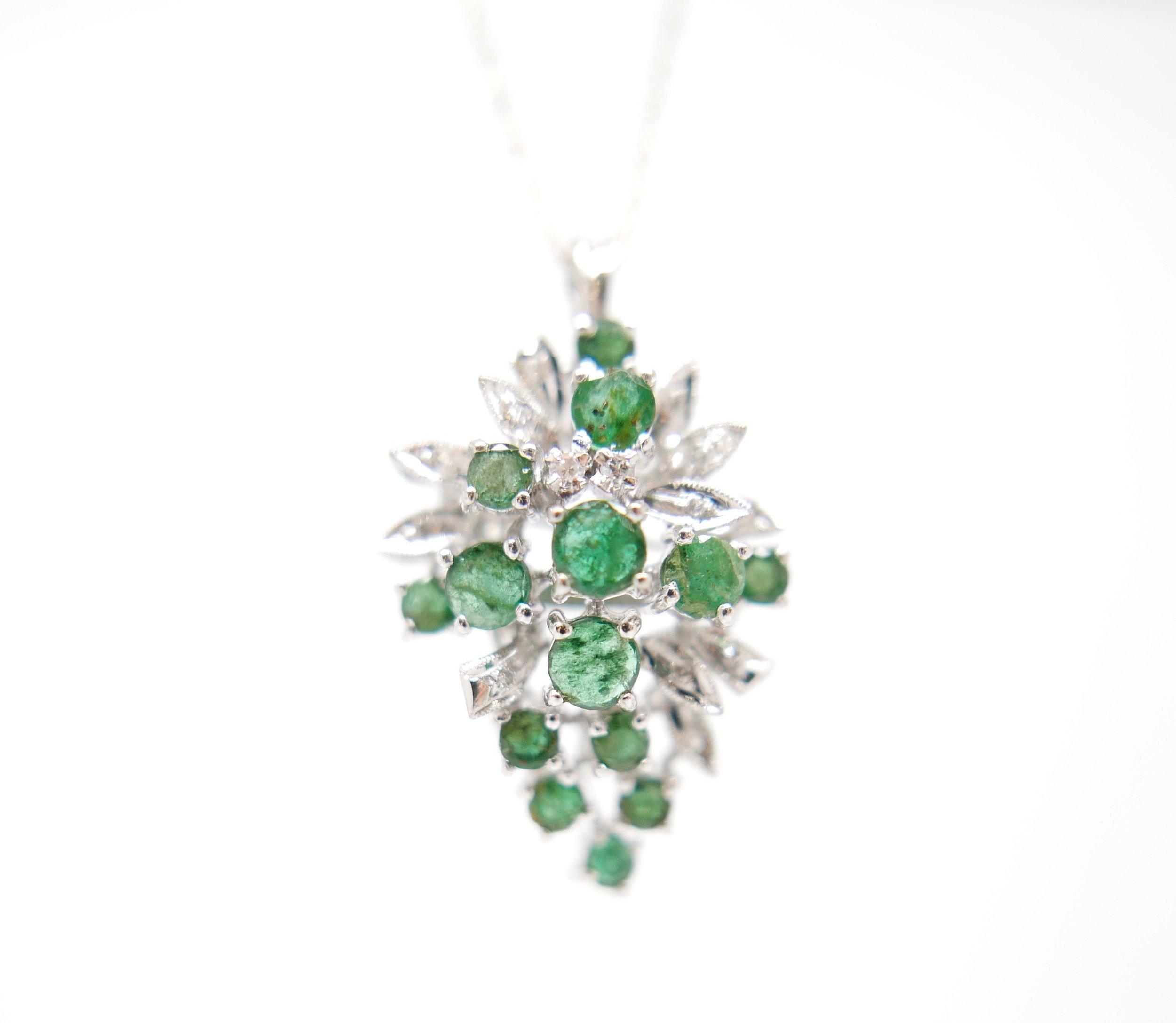 6eb1eb83368e4 Emerald & Diamond Pendant in 18ct White Gold