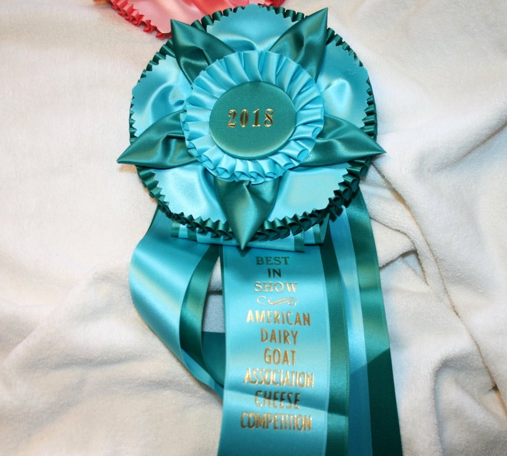 Best in Show ADGA Goat Milk Cheese Competition 2018 - Best in Show and First Place for our Colby Cheese in Unflavored Semi-Soft Cheese Amateur Division.Second Place for our Cheddar Cheese in Unflavored Hard Cheese Amateur Division.Thank you Mike, Scott, Wendy and Dr. Loftin and Heather.