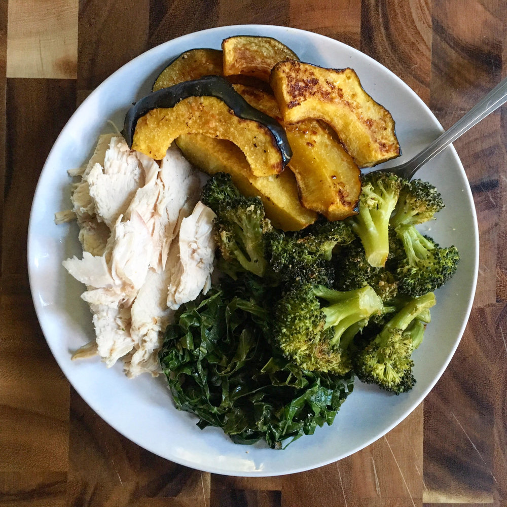 A balanced plate! Roasted chicken with sautéed collard greens + roasted broccoli and acorn squash