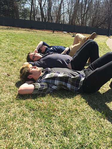 Obligatory artsy photo: Riley, Matt and Tyler bask in the sun.