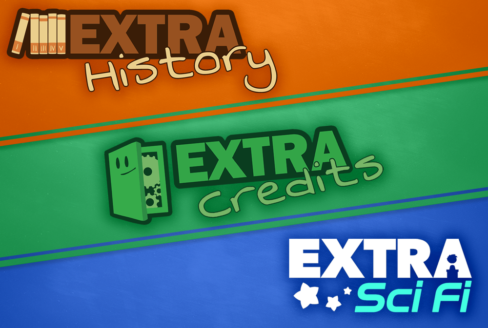 From top to bottom: the Extra History logo, the Extra Credits logo, and the Extra Sci Fi logo.