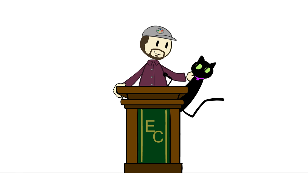 Screenshot from an episode of Extra Credits, depicting the illustrated cartoon form of  narrator Matthew Krol and his cat Zoey, introduced in the summer of 2018.