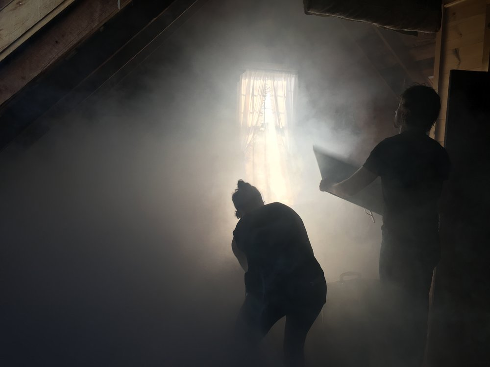 Production designer Ariel Hall and DP Mark Farney spread out the fog at Swan House in Camden