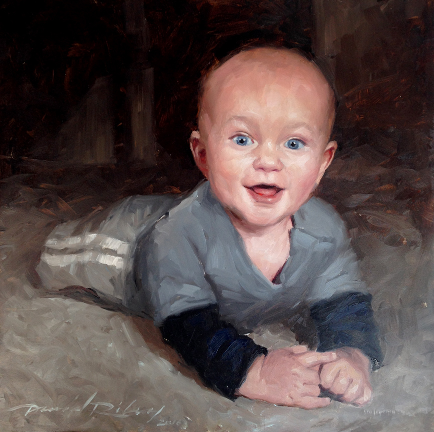 "Ellis    Oil on linen, 12x12""  2016  Personal Portrait"