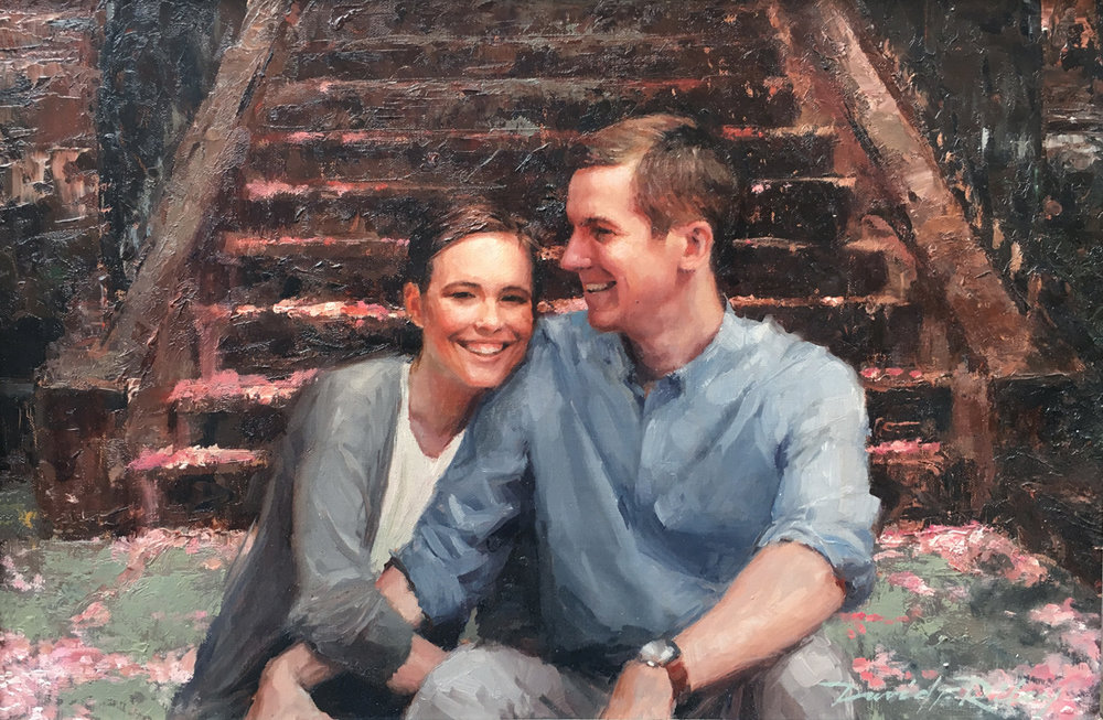 "Engagement Portrait    Oil on linen (pallet knife), 12x18""  2016  Commission Portrait"