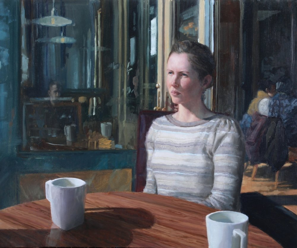 "Coffee with Nealy    Oil on linen, 20x24""  $3900  Available for purchase through the artist"
