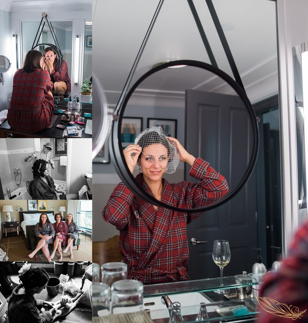 bridal prep, hotel jerome weddings, aspen wedding photographer, flannel bridal robes