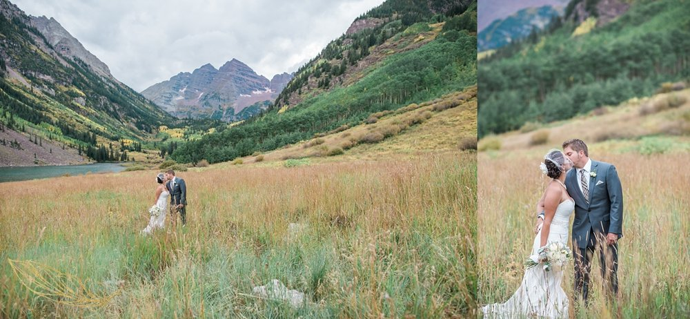 aspen co wedding photographer, maroon bells wedding ceremony, bride and groom mountain portraits