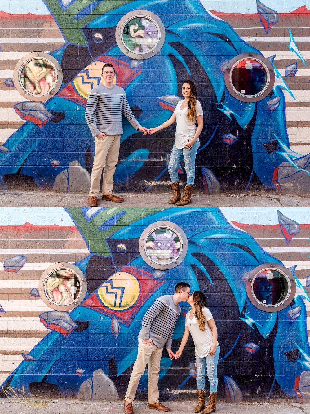 unique engagement session, street art engagement session, denver street art engagement session