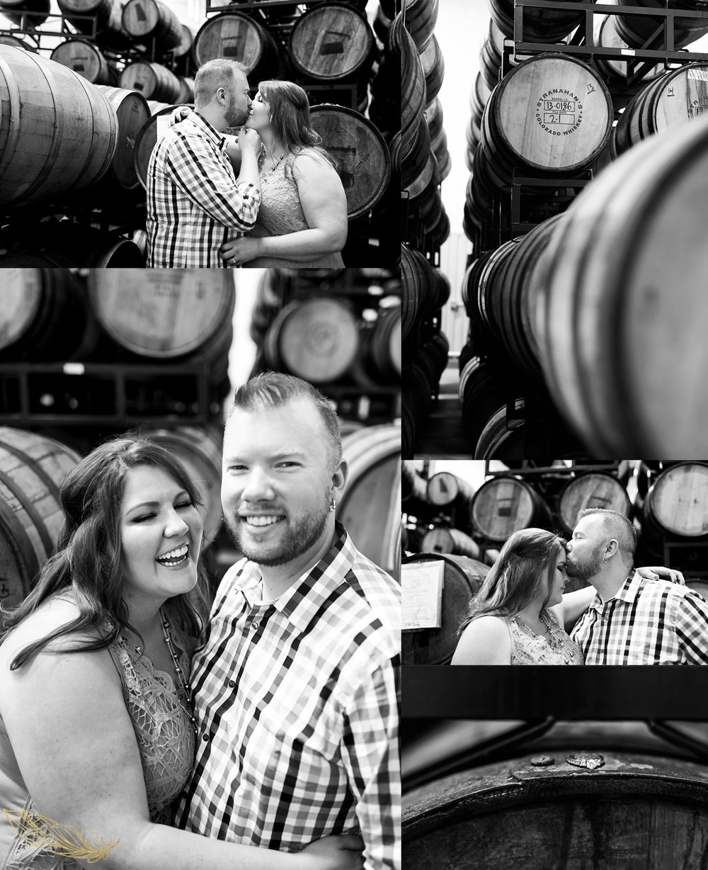 barrell room engagement session, brewery engagement session, colorado mountain wedding photographer