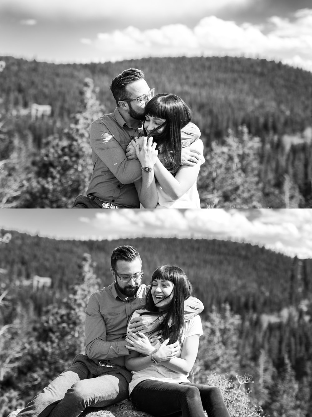 playful engagement session, colorado mountain wedding photographer, mountain engagement session