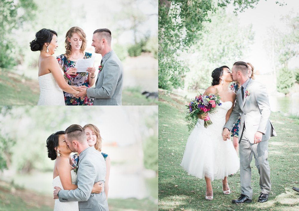 Addenbrooke park summer elopement denver wedding photographer bride and groom denver wedding photographer tea length wedding dress park wedding junglespirit Image collections