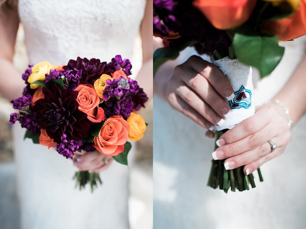 I loved the deep purples of Amanda's bouquet and when her Avalanche-themed garter wouldn't stay on we wrapped her bouquet with it and it was the perfect touch!
