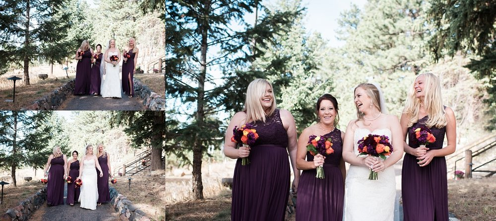 Amanda's bridesmaids were so much fun and their dresses looked so great with the evergreens surrounding Chief Hosa Lodge.