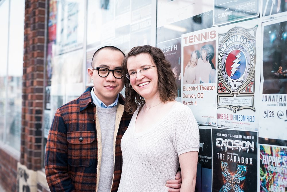 Anee + Nam enjoy going to concerts so the wall of concert posters was the perfect backdrop for some of their engagement photos.