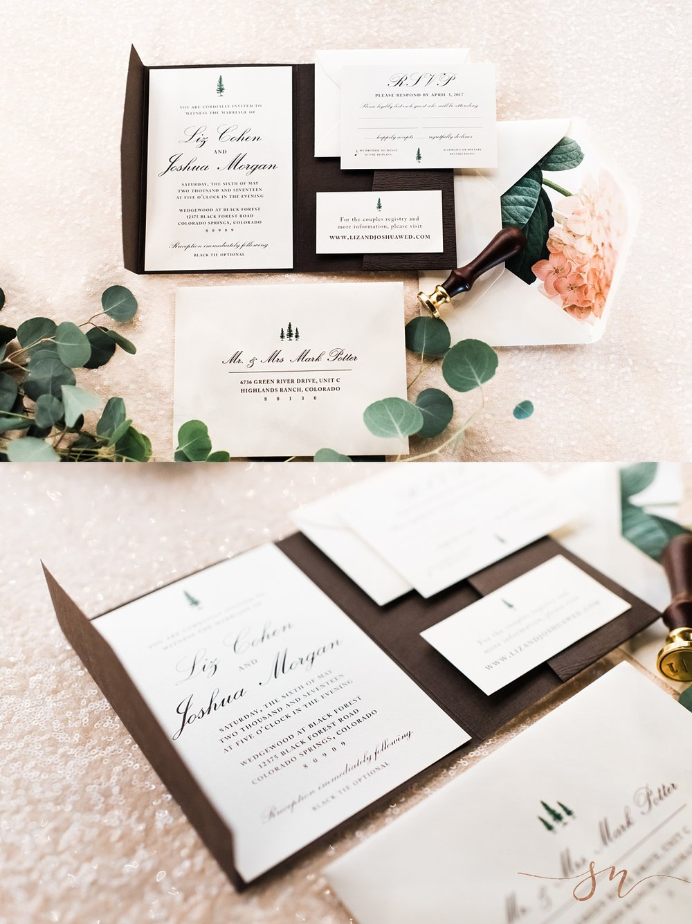 wedding-invitation-suite, forest-wedding-invitations, denver-wedding-photographer