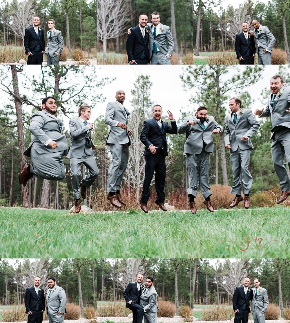 jumping-groomsmen, wedgewood-black-forest, colorado-wedding-photographer