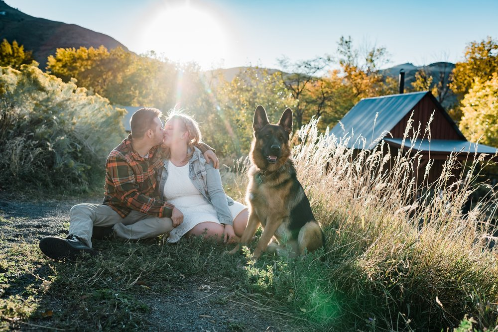 german-shephard-engagement, couples-portraits-with-puppy, denver-wedding-photographer