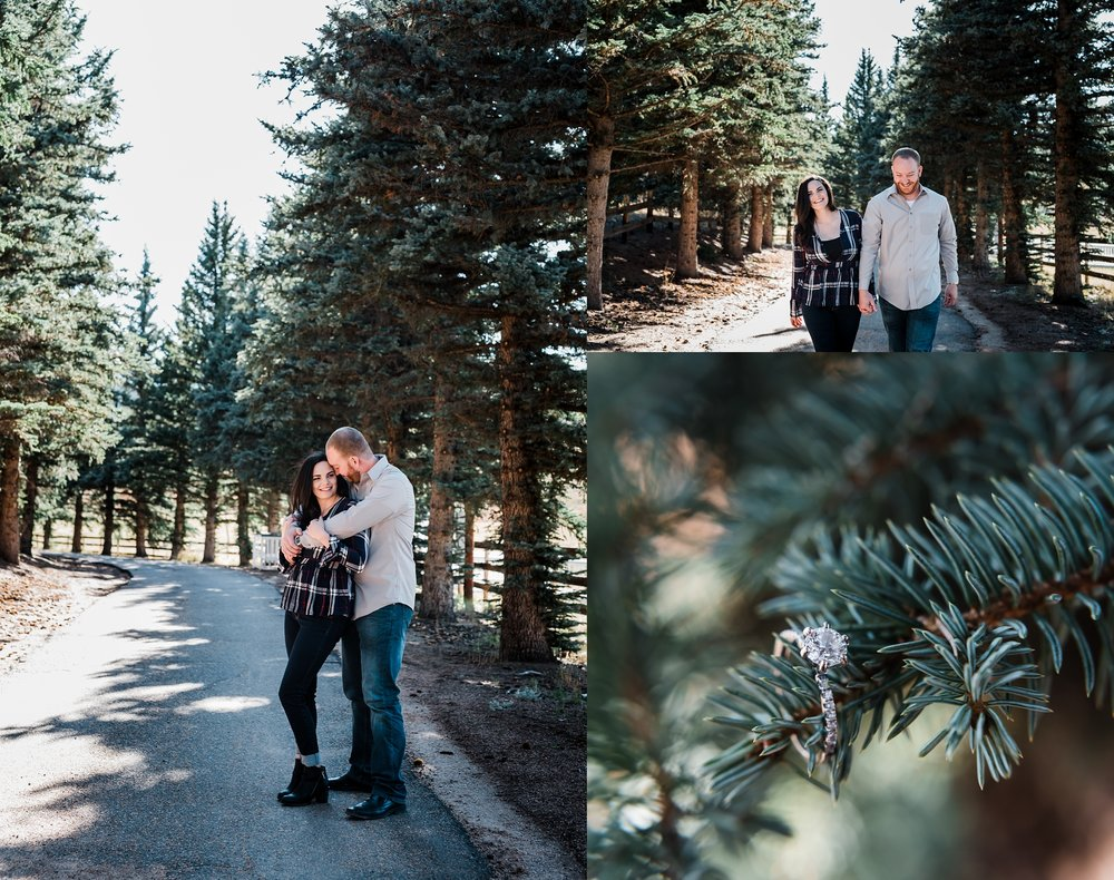 engagement-with-evergreen-trees, deer-creek-valley-ranch, denver-colorado-wedding-photographer