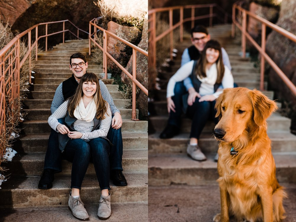 red-rocks-engagement-session, golden-retriever, colorado-wedding-photographer