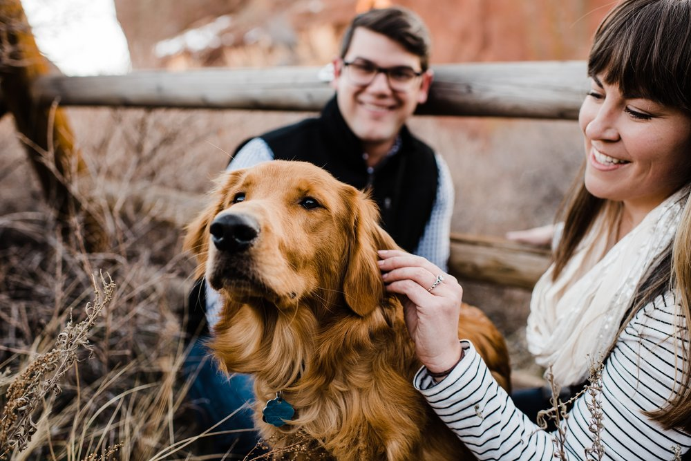 golden-retriever-puppy, engagement-photos, denver-wedding-photographer, red-rocks