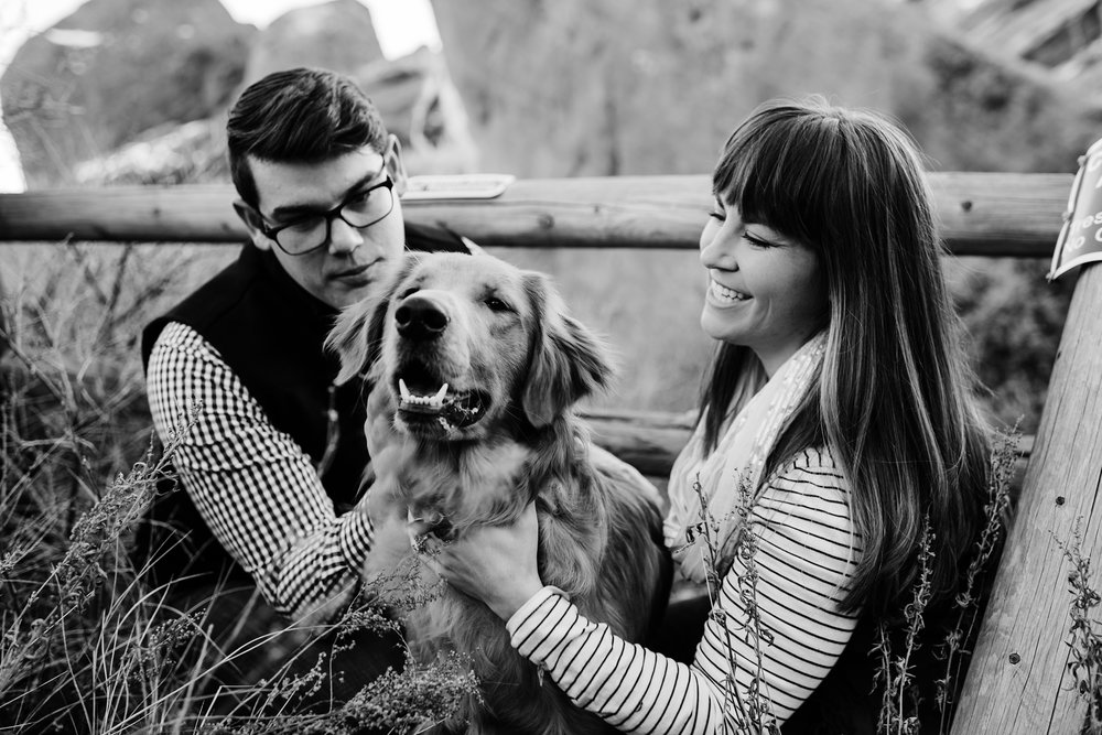 black-white-photography, denver-colorado-engagement-photographer, dogs-at-engagement-sessions