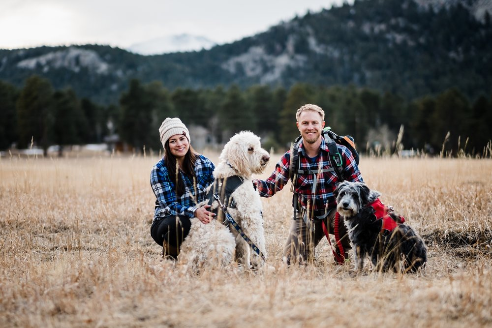 colorado-hiking-engagement, couples-with-dogs, denver-wedding-photographer