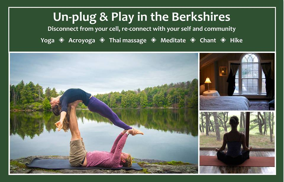 Come back to center.  Nourish your body.  Connect with your heart.  August 23-27, Race Brook Lodge, Sheffield, MA    The transition between seasons is a potent time to shift your inner compass.  Move mindfully into the next chapter as you:  - Connect with your inner strength and fluidity through vinyasa flow yoga  - Experience the support of your community through acroyoga, Thai massage and conscious  communication                 - Cultivate deep stillness and receptivity to the beauty around you through hiking and meditation in the wilderness                 - Open your heart and voice through song and chant