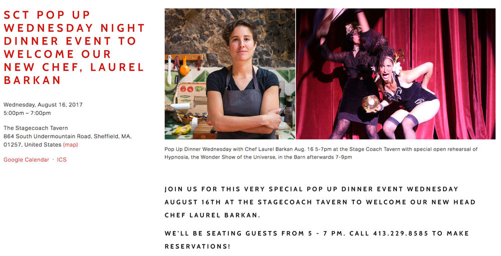 Pop-Up Dinner Wednesday 16, 2017 at the Stage Coach Tavern to welcome new head chef, Laurel Barkan
