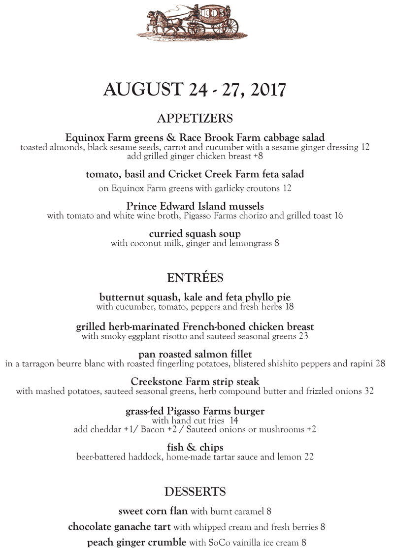 The Stagecoach Tavern Dinner Menu Aug. 24 -27, 2017 by Chef Laurel Barkan