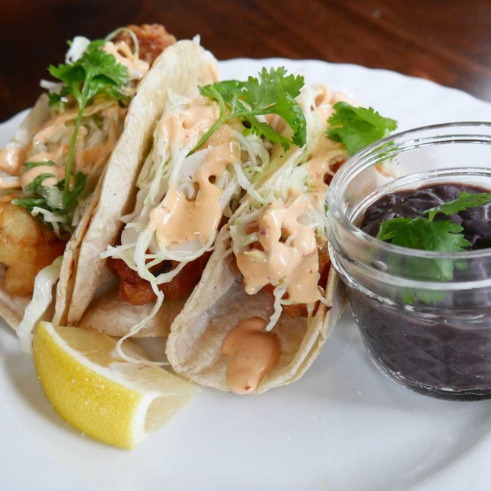 Newly added to this week's menu at The Stagecoach Tavern: Crispy fish tacos with cilantro slaw and chipotle aioli. Served with a side of black beans.