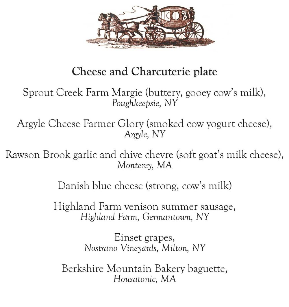 This weekend's special local farms' Cheese and Charcuterie plate menu.