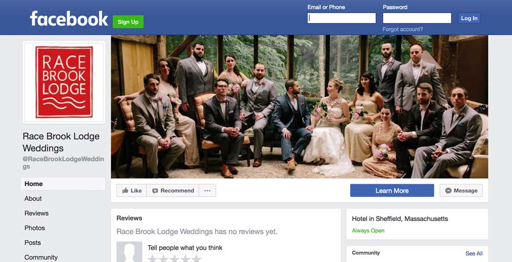 Follow Race Brook Lodge Weddings on Facebook!