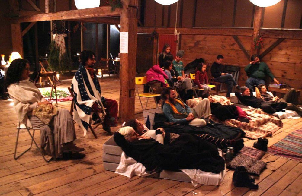 Audience in the Barn at Race Brook Lodge