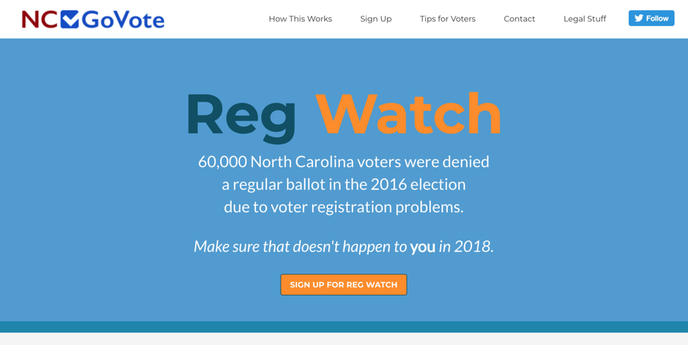 Insightus is a North-Carolina-based organization passionate about, among other things, voter protection. They wanted a tool to allow North Carolina citizens to keep an eye on their voter registration records, looking for changes or (gulp) removals. Changes obviously aren't always bad - sometimes you move or change your name, and you really do want the record to change. But knowing that your record changed is a Good Thing. Ragtag volunteers built out the back-end for their newly-launched project at  https://ncgovote.org/ . In the tool's first 24 hours of operation, 27% of site visitors signed to monitor their voting records!