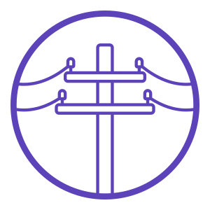 Stylized image of a telephone pole in purple.