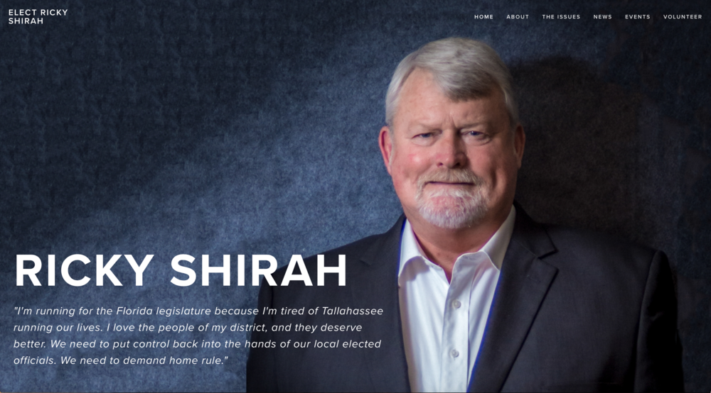 Ricky Shirah for Florida state legislature's homepage.